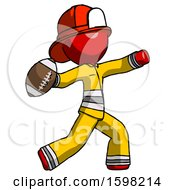 Red Firefighter Fireman Man Throwing Football
