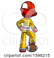 Red Firefighter Fireman Man Standing With Foot On Football