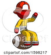 Red Firefighter Fireman Man Sitting On Giant Football