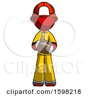 Poster, Art Print Of Red Firefighter Fireman Man Giving Football To You