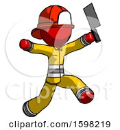 Poster, Art Print Of Red Firefighter Fireman Man Psycho Running With Meat Cleaver