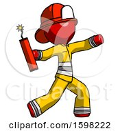 Red Firefighter Fireman Man Throwing Dynamite