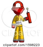 Red Firefighter Fireman Man Holding Dynamite With Fuse Lit
