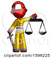 Red Firefighter Fireman Man Justice Concept With Scales And Sword Justicia Derived