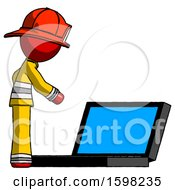 Poster, Art Print Of Red Firefighter Fireman Man Using Large Laptop Computer Side Orthographic View