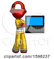 Red Firefighter Fireman Man Holding Laptop Computer Presenting Something On Screen