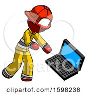 Red Firefighter Fireman Man Throwing Laptop Computer In Frustration