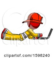 Red Firefighter Fireman Man Using Laptop Computer While Lying On Floor Side View
