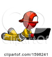 Red Firefighter Fireman Man Using Laptop Computer While Lying On Floor Side Angled View