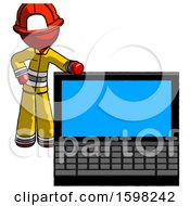 Red Firefighter Fireman Man Beside Large Laptop Computer Leaning Against It