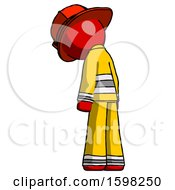 Poster, Art Print Of Red Firefighter Fireman Man Depressed With Head Down Back To Viewer Left