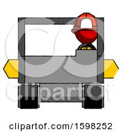 Red Firefighter Fireman Man Driving Amphibious Tracked Vehicle Front View