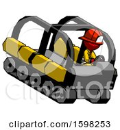 Red Firefighter Fireman Man Driving Amphibious Tracked Vehicle Top Angle View