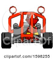 Red Firefighter Fireman Man Riding Sports Buggy Front View