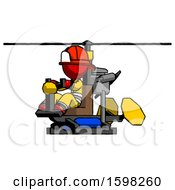 Red Firefighter Fireman Man Flying In Gyrocopter Front Side Angle View