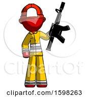 Red Firefighter Fireman Man Holding Automatic Gun