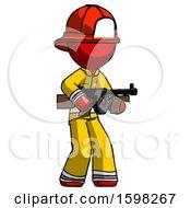 Red Firefighter Fireman Man Tommy Gun Gangster Shooting Pose