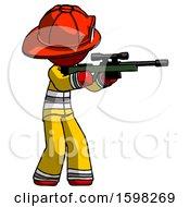 Red Firefighter Fireman Man Shooting Sniper Rifle