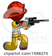Red Firefighter Fireman Man Kneeling Shooting Sniper Rifle