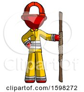 Red Firefighter Fireman Man Holding Staff Or Bo Staff