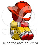 Red Firefighter Fireman Man Sitting With Head Down Facing Angle Right