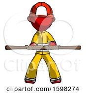 Red Firefighter Fireman Man Bo Staff Kung Fu Defense Pose