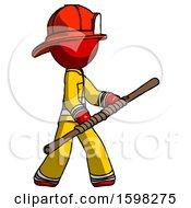 Red Firefighter Fireman Man Holding Bo Staff In Sideways Defense Pose