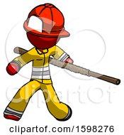 Red Firefighter Fireman Man Bo Staff Action Hero Kung Fu Pose