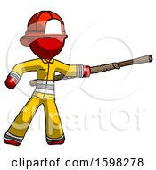 Red Firefighter Fireman Man Bo Staff Pointing Right Kung Fu Pose