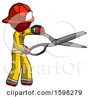 Red Firefighter Fireman Man Holding Giant Scissors Cutting Out Something