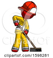 Red Firefighter Fireman Man Cleaning Services Janitor Sweeping Side View