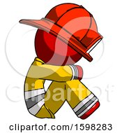 Red Firefighter Fireman Man Sitting With Head Down Facing Sideways Right