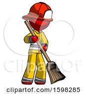 Red Firefighter Fireman Man Sweeping Area With Broom