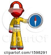 Red Firefighter Fireman Man Holding A Large Compass