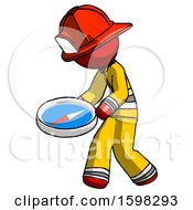 Red Firefighter Fireman Man Walking With Large Compass