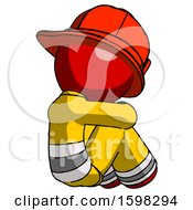 Red Firefighter Fireman Man Sitting With Head Down Back View Facing Right