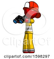 Red Firefighter Fireman Man Holding Binoculars Ready To Look Left