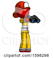 Red Firefighter Fireman Man Holding Binoculars Ready To Look Right