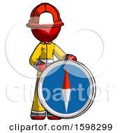 Red Firefighter Fireman Man Standing Beside Large Compass