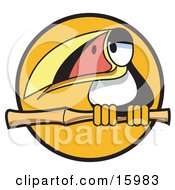Cute Toucan Bird With A Colorful Beak Perched On A Branch Clipart Illustration