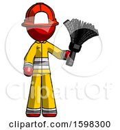 Red Firefighter Fireman Man Holding Feather Duster Facing Forward