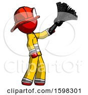 Red Firefighter Fireman Man Dusting With Feather Duster Upwards