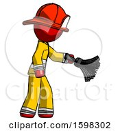 Red Firefighter Fireman Man Dusting With Feather Duster Downwards