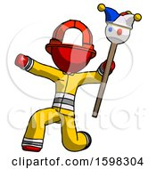 Poster, Art Print Of Red Firefighter Fireman Man Holding Jester Staff Posing Charismatically