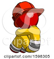 Red Firefighter Fireman Man Sitting With Head Down Back View Facing Left