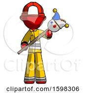 Red Firefighter Fireman Man Holding Jester Diagonally
