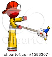 Poster, Art Print Of Red Firefighter Fireman Man Holding Jesterstaff - I Dub Thee Foolish Concept