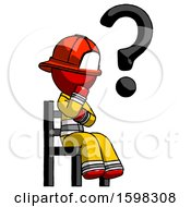 Poster, Art Print Of Red Firefighter Fireman Man Question Mark Concept Sitting On Chair Thinking