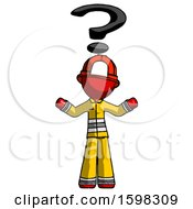Red Firefighter Fireman Man With Question Mark Above Head Confused