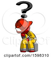 Red Firefighter Fireman Man Thinker Question Mark Concept